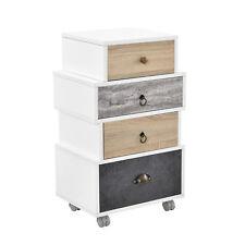 [en.casa] Buffet haut Commode buffet armoire blanc/Chêne / gris Table d'appoint