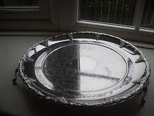 VINTAGE Argento Placcato dai piedi vassoio piatto inciso Uva design in rilievo