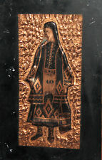 New listing Vintage Hand Made Copper Wall Decor Plaque Woman With Folk Dress