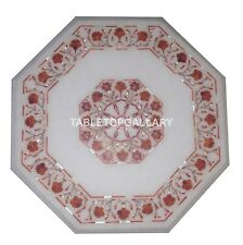 1' White Marble Coffee Table Top Carnelian Floral Inlay Stone Hallway Decor W057