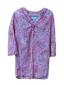 KAREN NEUBURGER Nightgown Pink Coral Floral Cotton Size S Tunic Sleepshirt NEW