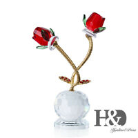 Crystal Rose Paperweight Glass Figurine Ornament Birthday Xmas Lady Mother Gift