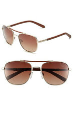 New Original Penguin The Joey Polarized Sunglasses Gold Brown Leather  56mm