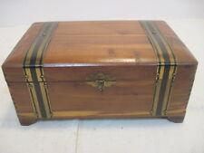OLD WOOD-WOODEN JEWLERY BOX TRINKET BOX METAL HANDLES DOVETAIL MIRROR