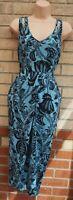 WAREHOUSE BLUE BLACK FOLK FLORAL SPLIT FRONT BODYCON CUT OUT TEA DRESS 12 M