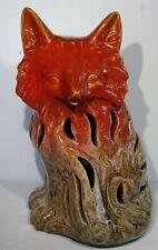 "Rare Red Fox Statue Figure 11"" Wildlife Tea Lite Candle Light Bulb Cover Ceramic"