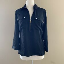 NWOT Michael Kors Blouse Shirt Womens Size Small Black Half Zip Silver Hardware