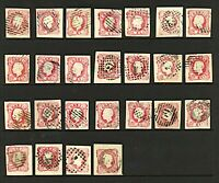 Portugal 1862 King Luis 25r pink embossed imperforate range of cancellatioStamps