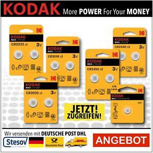 Kodak Batterien CR2016 CR2025 CR2032 CR2430 CR2450 LR44 Knopfzellen im Blister.