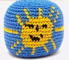 SUN HACKY SACK  FOOTBAG CROCHETED GUATEMALAN STYLE KICK BAG BLUE YELLOW NEW