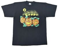 Vintage Halloween Jack O Lantern Tee Black Size XL Pumpkin Patch Witch T Shirt