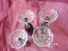 4 Bobèches/Coupelles Anciennes en cristal pour Lustre, Appliques, Bougeoirs