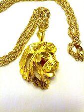 Vintage Lion Pendant on gold tone Chain