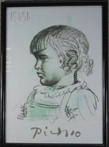 "Pablo Picasso Lithograph by Marina Picasso Collection 1982: ""Portrait d'enfant"""