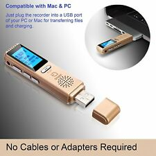 Troex Grabadora Digital De Voz-HD grabadores de audio estéreo mini USB-PC o Mac Co