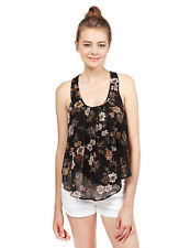 FashionOutfit Women's Summer Floral Chiffon Scoop Neck Racer-Back Cami Tank Top