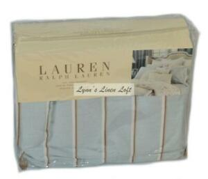 "RALPH LAUREN English Isle Stripe CAL KING BEDSKIRT Pale Blue NEW 18"" DROP $220"