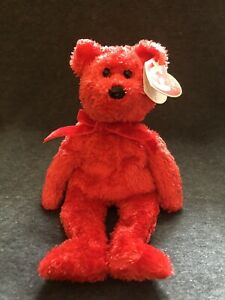 """TY Beanie Baby """"Sizzle"""" W/tag Red Hot Bear"""