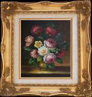 Flower+Bunch+On+Table%7EVintage+Oil+Painting%2BWood+Frame