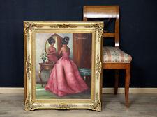 Rudolf Otto Franke huile Peintures plus vieux portrait dame robe de soirée interieur miroir