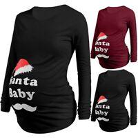 Women Maternity Xmas Long Sleeve Top Cute Cartoon Letter T Shirt Pregnant Blouse