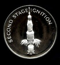 APOLLO 13 SPACE FLOWN TO THE MOON MATERIAL LARGE SILVER COIN - 2nd Stage