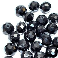 a string of faceted roundel glass crystal beads (70-72 pcs), black, 8 mm x 6 mm