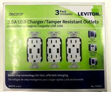 Leviton Decora 3-Pack 3.6 A USB Charger/Tamper Resistant Outlets White