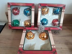 VINTAGE GLASS HAND PAINTED CHRISTMAS BAUBLES