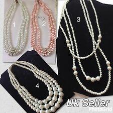 Uk Seller High Quality Beautiful 3 Rows Rhincrystal Faux Pearls Necklace
