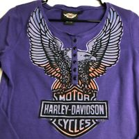 Harley Davidson Women's Long Sleeve Henley T Shirt Medium M Purple Logo Spellout