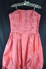 CHETTA B Bloom SILK Strapless Party Dress Coral ORANGE Satin Ruched Bodice 14