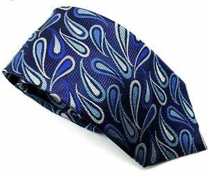 """T.M. Lewin Men's Tie Blue Paisley Tear 100% Silk 3.5"""" Width 60"""" Length"""