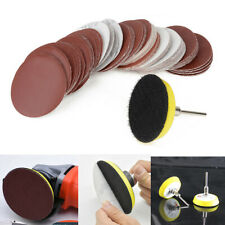 60 x 2/'/' 50mm Sandpaper Disc Sanding Sander Backing Pad Palm shank Drill Bit UK