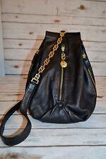 Vintage GIANNI VERSACE Black Soft Leather Sling Shoulder BackPack Purse Medusa
