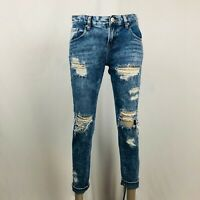 Bullhead Jeans Sz 25 0 Womens Skinny Boyfriend Cotton Distressed Destroyed