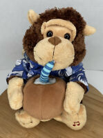 Cuddle Barn Monkey Musical Plush Drinking Coconut Vacation Monty Escape Colada