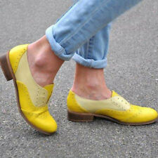 Women's Retro Brogues Wingtip Round Toe Slip On Low Heel Oxfords Shoes Fashion