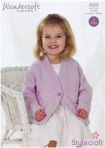 "8893 Stylecraft Wondersoft DK - Knitting Pattern Girls Cardigans - 18-28"""