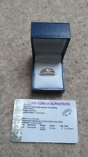 Unworn Yellow 9k Gold Ring /White Sapphire –Size T – Cert of Authenticity