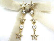 18K Gold Plated Dangling Stars Swarovski Element Crystal Rhinestone Earrings