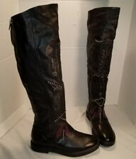 NEW AS 98 CARL BLACK LEATHER STUDDED OVER THE KNEE BOOTS US 7 EUR 38