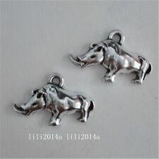 10pc Tibetan Silver Rhinoceros Animal Pendant Charms Beads Accessories  PL1090