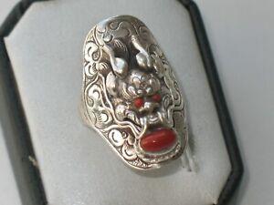 JUGENDSTIL SILBER RING DRACHE 3 x KORALLE ausgefallen SUPER DESIGN um 1900