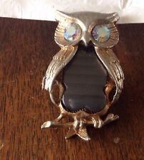 Vintage AB Rhinestone Eyes Wise Old Owl With Gray Belly Bird Brooch Pin