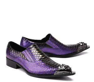 Mens Metal Pointy Toe Casual Business Wedding Leather Slip On Shoes  US10