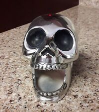 Ceramic Spooky Silver Skull Red Bullet Dot On Head Decoration Figurine Halloween