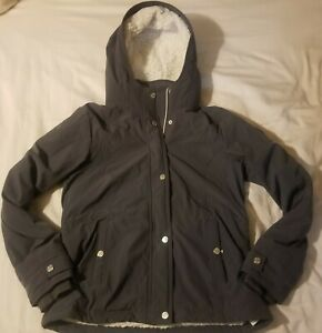 HOLLISTER All Weather Fleece Lined Jacket Hooded Gray sz Medium