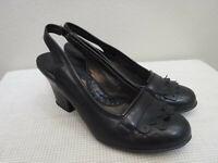 Women's BORN CROWN 9.5 41 Black Leather Kiltie Slingback Strap Heels Pumps Shoes