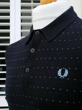 Fred Perry Navy Micro Dot Knitted Polo Shirt - S - Mod Ska Scooter Casuals Skins